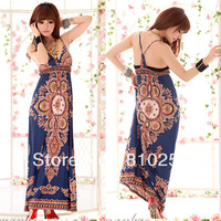 222 free shipping 2013 women new fashion clothing bohemian blue print milk silk long maxi dress summer plus big size dresses
