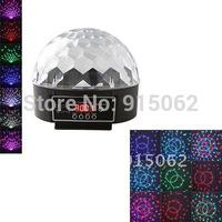 Mini DMX  Sound Active LED RGB Crystal Magic Ball Effect Light Disco DJ Party Stage Lighting