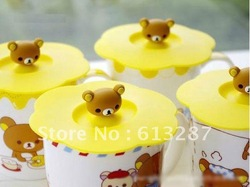 Free Shipping Kawaii Silicone Novelty Rilakkuma Water Drinking Cup Mug's Lid Cover Anti-dust Cup Cover,Novelty Gift Retail(China (Mainland))