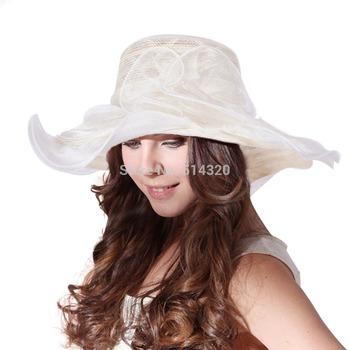 A001 Ladies Kentucky Derby Vintage Summer Sun hat wide brim wedding church chapeu for Women