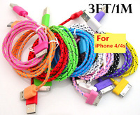 New brand 1M Colorful Braided Fabric USB Data&Sync Charger Cable Cord For iPhone 4 4S
