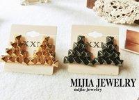 Minimum Order $20 (mixed order)   personality punk rivet geometry delta-type earrings