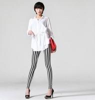 New 2014 LeggingsWomen Fashion Fitness Black White Spandex Legging For Girls Plus Size Zebra Print Vertical Stripe Pants