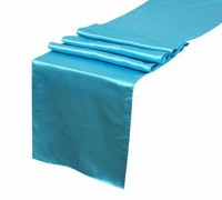 "5PCS Turquoise Satin Table Runners 12"" x 108"" Wedding Party new brand+free shipping"