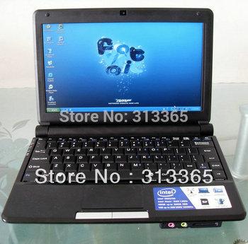 "10"" Laptop PC Intel D2500 Dual Core 1.86Ghz 1GB RAM 160GB HDD Windows 7 Mini Laptop WiFi Camera Free Shipping"
