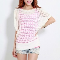 12 colors ladies' loose thin cutout batwing sleeve air conditioning blouse pullover sweater for spriong/summer/autumn