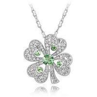 100% Austria Crystal Platinum Plated Flower Pendant Necklace