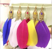 Cheap Jewelry Cheap  feather earrings big circle  wholesale charms E011TA-5