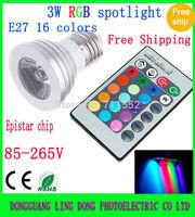 Free shipping 100PCS/LOT 16 Color  E27 3W 4W RGB LED lamp light bubl spotlight spot light with IR Remote 85-265V