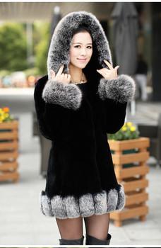 2014 New Fashion Import Women's Genuine Long Black Rex Rabbit Fur Coat/Clothing With Big Fox Fur Collar Hooded,High Quality