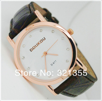 2pcs/lot Free Shipping! Original Brand Fashion Rose gold Watch Women girls 2013 Ladies PU Leather band Dress Quartz Watches