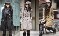 [3 Colors/M-XXL] 2014 Casual Women's Double-Breasted Trench Coat Long Sleeve Slim Outerwear Cotton+Polyester