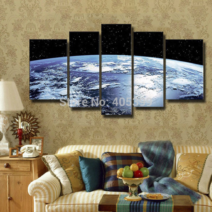 The Earth Map From the Space Canvas Painting 100% Handmade Modern Oil Painting On Canvas Wall Art Gift  For Living Room JYJLV287