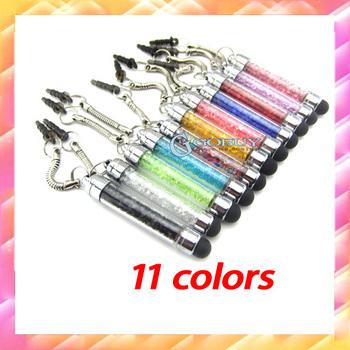 300pcs/lot Wholesale Good Quality Dust plug Touch Pen Crystal Stylus Pen ultra-soft high sensitive For iphone iPad mobile phone