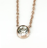 Free shipping 2013 fashion romantic 316L Stainless Steel rhinestone thin chain pendant necklace gold/rose gold/silver 41cm