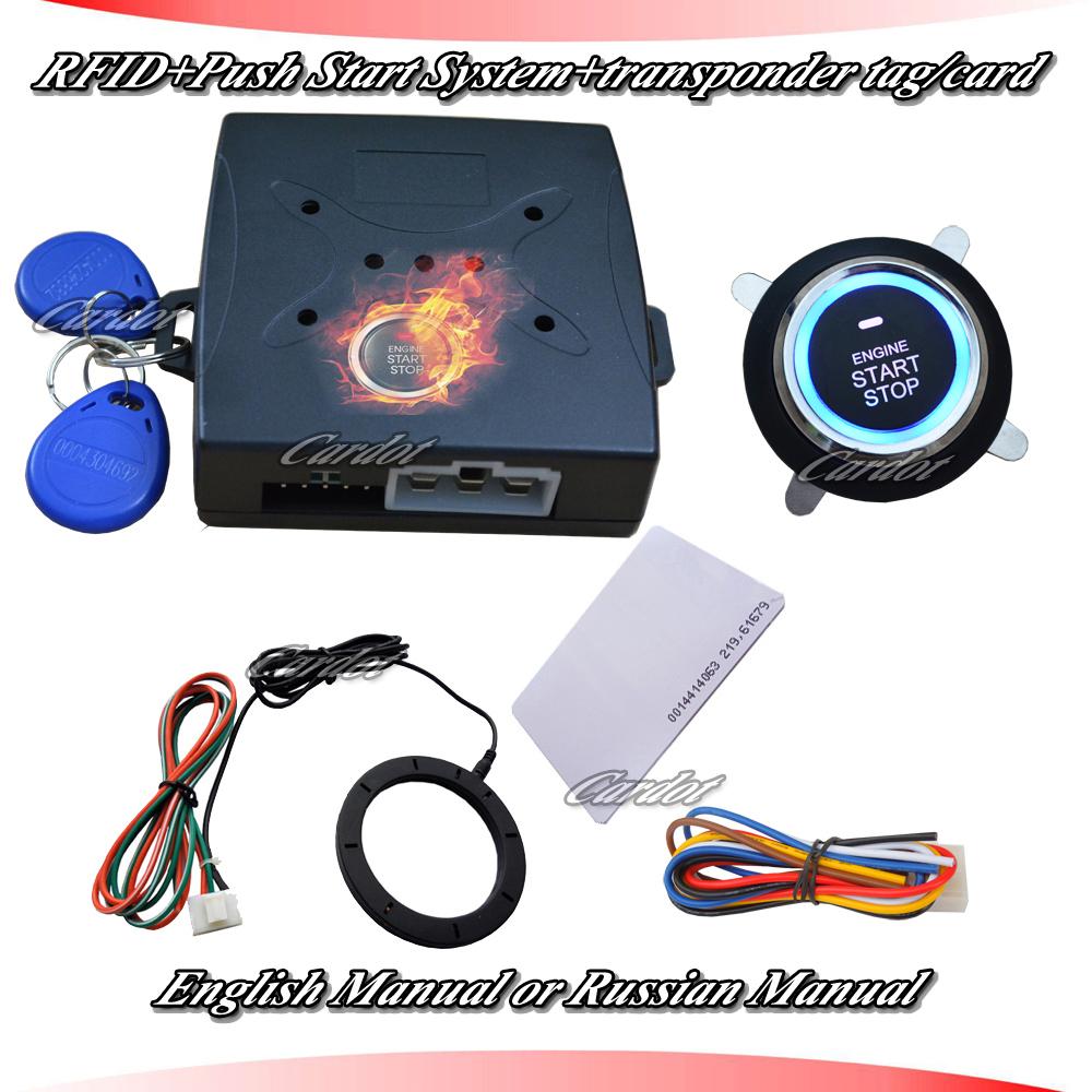 Promotional RFID alarm,push button start,transponder immobilizer system,passive keyless entry car engine,russia /english manual(China (Mainland))