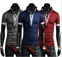 2014 Hot Sale Top Quailty 100% cotton Men's Shirt Male  Stand Collar V Neck Fashion Shirt 3 Colors USA Size S M L XL XXL 668