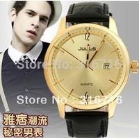 No Fake!JULIUS Fashion Watch Designer Luxury Classic Sport Men Wrist Watches,Calendar Quartz Leather Strap Watches 606 Wholesale