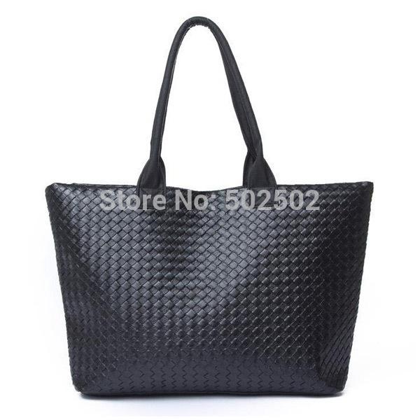 2014 korean high capacity shopping bag PU leather single shoulder bags fashion big women woven tote ladies sac a main(China (Mainland))