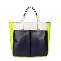 Casual Portable TMC Women Neon Yellow Handbags Beach Bag Patchwork Satchel Bag YL082-2