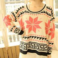 2014 Winter korean Christmas geometry vintage sweet snowflake deer loose thicken sweater for women/free shipping/retail/sr27