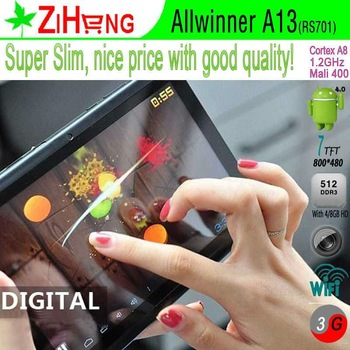7 inch color Tablet PC Allwinner A13 Tablet PC android 4.0 capacitive screen with wifi 3G nice quality the lowest price in china
