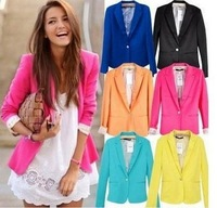 2013 ZA new hot stylish and comfortable women's cotton Blazers Candy color lined with striped Z suit W4100