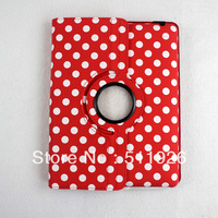360 Degree Rotating leather case for iPad 2 new iPad 3 retro polka dot stand cover swivel skin free shipping