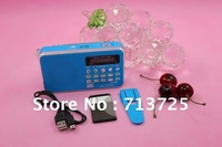 FM SD TF MMC AUX Portable Radio / Digital Audio Player MP3 Player LED Screen, Speaker, using 800mAh Rechargable Battery