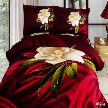oil painting bed linen sets 3D big red flower 4pc bedding set luxury Duvet/Quilt/blanket cover bedsheet sets cotton Queen size