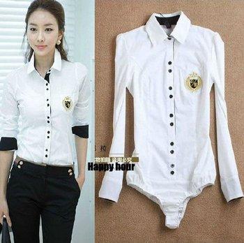 White body shirt Lady's Blouses Shirts  fashion OL ladies brand blouses shirts ...