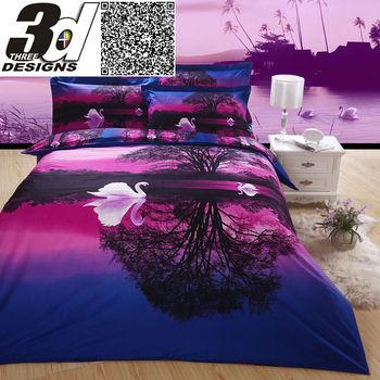 swan sunset purple bedding set 3d bed sheet wedding luxury Quilt/Duvet cover Bedspread Queen King bedclothes cotton linens sets