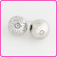 Free Shipping 8mm/10mm Wholesale Metal Beads Alloy Ball Carved Flower Pave Crystal Charms Jewelry Bracelets Findings MRB-A02
