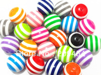 wholesale 20mm-100pcs Mixed colors striped resin beads for chunky necklace and bracelet free shipment