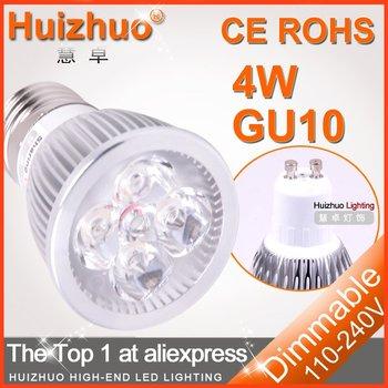 [Huizhuo Lighting]200pcs/lot  High Power GU10 4*1W AC85-265V LED Bulb Light