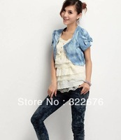2013 Free Shipping Sweetly Rhinestone Decorated Artificial Denim Cape Pattern Coat Light Blue HD12042539