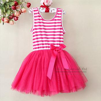 2014 Beautiful Girl Dress Red Striped Infant Princess 6Layers Chiffon And 1 Cotton Lining Kids Minni Dress Childern Clothing