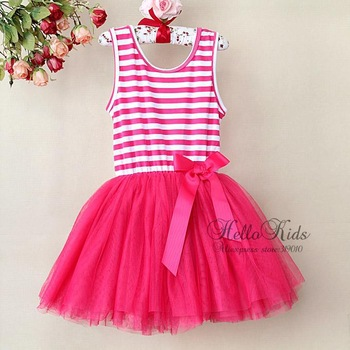 2014 Beautiful Girl Lace Dress Red Striped Infant Princess Party Dress 6 Layers Chiffon Cotton Lining Kid Party Dress GD21113-11