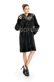 QD22250  2014  Winter Fashion Woman  Luxurious Warm Genuine Mink Fur & Silver Fox Fur Coat With Hooded