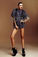 2014 Autumn Ladies' Genuine Natural Stripe Silver Fox Fur Coat Jacket Short Sleeve Winter Women Fur Outerwear Coats QD6385