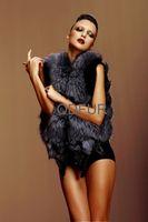 Winter Women's Genuine Real Silver Fox Fur Vest  Lady Fashion Waistcoat Female Slim Gilet QD6386