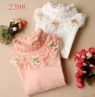 girls' autumn and winter children clothing lace  shirt long-sleeve T-shirt plus velvet thickening