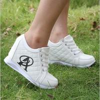 Fashion Women Wedge Sneakers Platform Shoes Woman High Top zapatillas mujer Sport Tenis White Black