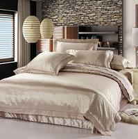 Free Shipping 4 pcs  luxury cotton bedding set satin drill jacquard wedding home textile/ duvet cover set /bed sheet/bedspread