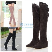 2012 Newest Fashion Women's Knee Boots Over Knee Inner Wedge Boots Ladies Sexy Winter Snow Boots Shoes 3color Free Shipping 8212