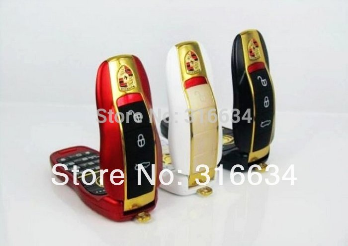 Hot! Free shipping by Sweden Post! white, gold 2 colors available! Quad-bands low price mini car key mobile phone H02(China (Mainland))