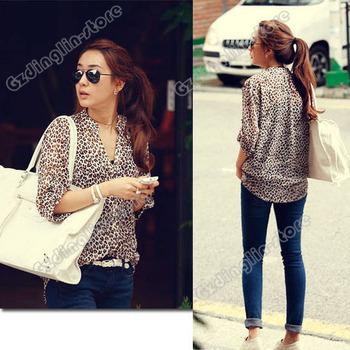 New Fashion Women Clothing 3/4 Sleeve Button Down Leopard Print Chiffon Blouse Slim Casual Blusas Shirt Tops Free Shipping 0270