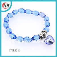 free shipping wholesale crystal glass beads bracelet with azure stone heart, Min order $15 (can mix orders)