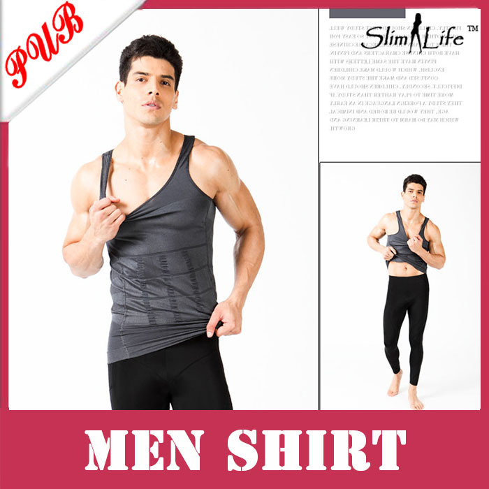 Wholesale Body Shaper Lose Weight Slimming Vest Slim'N Lift Tshirt For Men Shirt Fatty with box 80pcs Free shipping(China (Mainland))