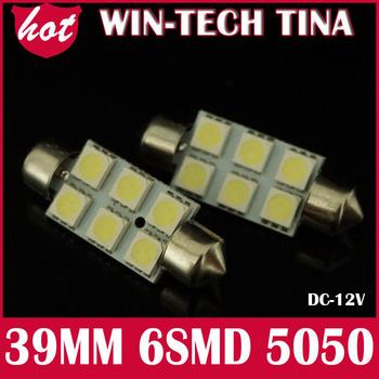 Free Shipping 30pcs/lot  Festoon Reading Light 39mm 6 SMD 5050 LED Car Auto Interior Dome License Plate LED Dome Bulb